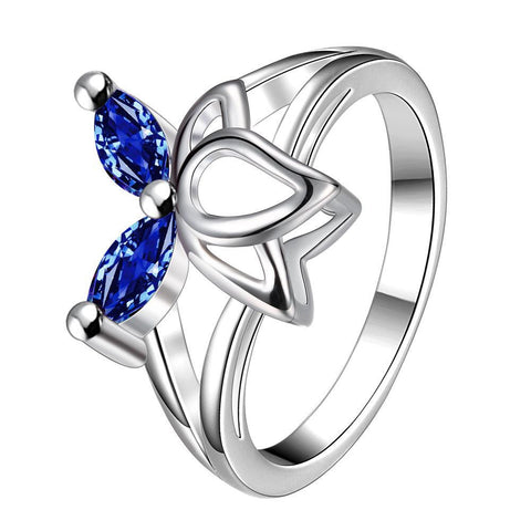 Duo-Mock Sapphire Butterfly Wings Petite Ring - rubiquejewelry.com