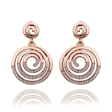 18K Rose Gold Circle Swirls Stud Earrings Made with Swarovksi Elements - rubiquejewelry.com