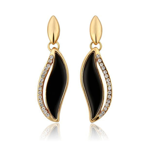 18K Gold Onyx Covered Drop Down Earrings Made with Swarovksi Elements - rubiquejewelry.com