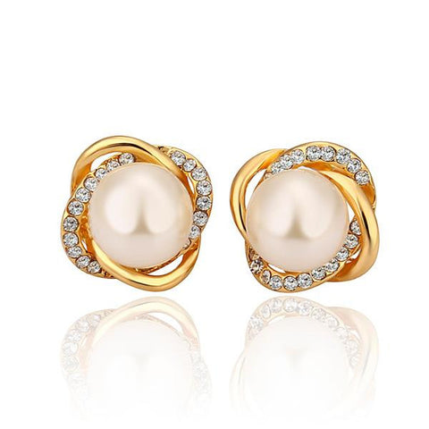 18K Gold Spiral Studs with Pearl Center Made with Swarovksi Elements - rubiquejewelry.com