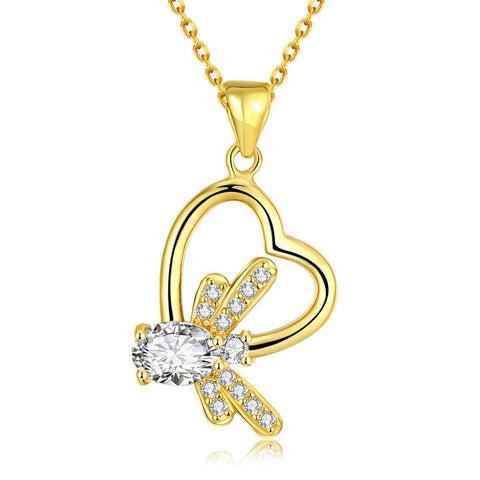 Gold Plated Crystal Filled Heart Necklace - rubiquejewelry.com