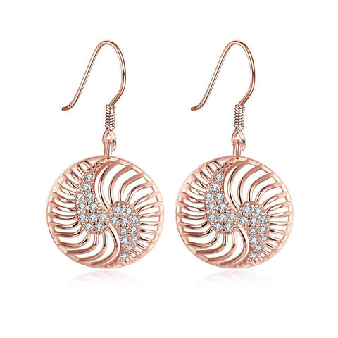 Rose Gold Plated The Circle of Love Drop Down Earrings - rubiquejewelry.com