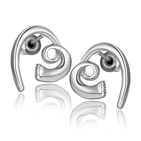 18K White Gold Abstract Heart Shaped Earrings Made with Swarovksi Elements - rubiquejewelry.com