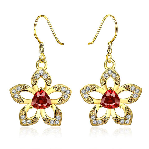 18K Gold Starfish with Ruby Centerpiece Drop Earrings Made with Swarovksi Elements - rubiquejewelry.com