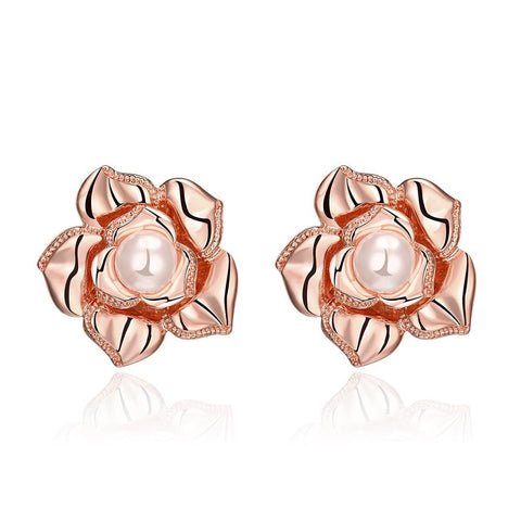 18K Rose Gold Blossoming Petal Stud Earrings Made with Swarovksi Elements - rubiquejewelry.com