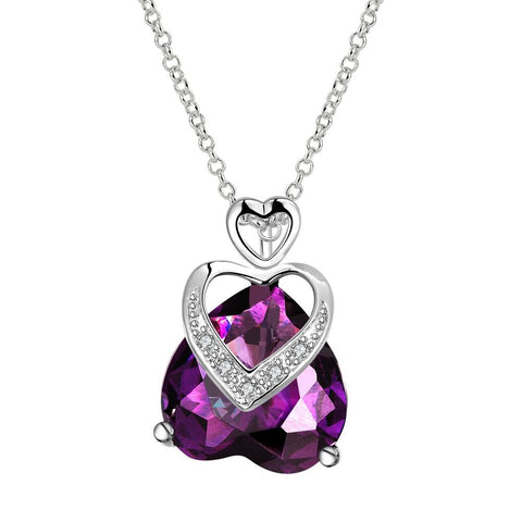 Purple Citrine Hollow Hearts Overlay Drop Necklace made with Swarovski Elements - rubiquejewelry.com