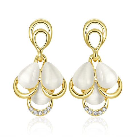 18K Gold Triple Pearl Drop Down Earrings Made with Swarovksi Elements - rubiquejewelry.com