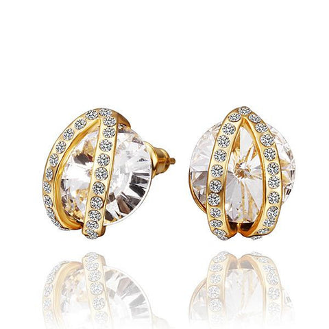 18K Gold Stud Earrings with Crystal Jewel Centerpiece Made with Swarovksi Elements - rubiquejewelry.com