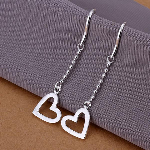 Sterling Silver Drop Hollow Hearts Earring - rubiquejewelry.com