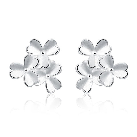 Sterling Silver Trio-Clover Petal Stud Earring - rubiquejewelry.com