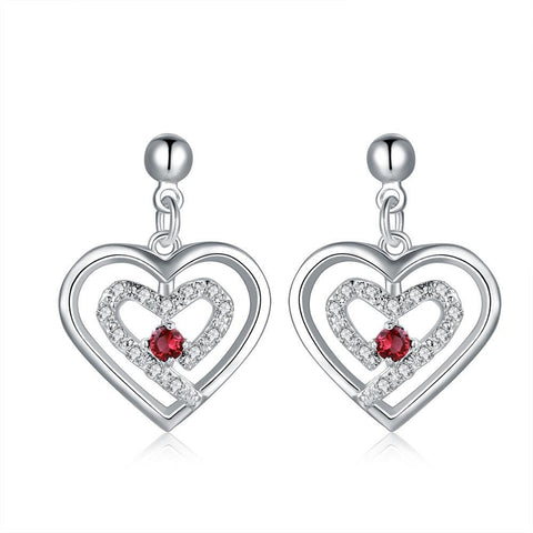 Sterling Silver Stones & Ruby Heart Earring - rubiquejewelry.com