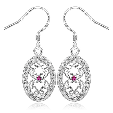 Sterling Silver Hollow Curved Design Drop Earring - rubiquejewelry.com