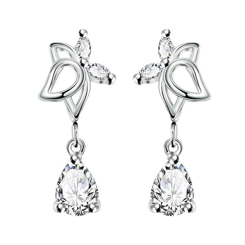 Crystal Jewels Hollow Butterfly Dangling Earrings - rubiquejewelry.com