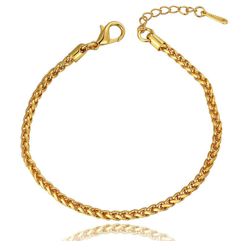 18K Gold Clean Cut Bracelet with Swarovski Elements - rubiquejewelry.com