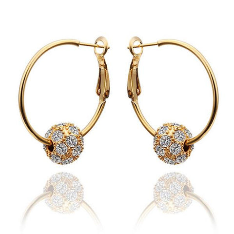 18K Gold Hoop Earrings with Sauv'e Crystal Earrings Made with Swarovksi Elements - rubiquejewelry.com