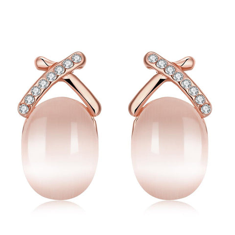 18K Rose Gold Crossway Earrings with Pearl Centerpiece Made with Swarovksi Elements - rubiquejewelry.com