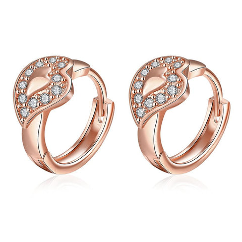 Rose Gold Plated Abstract Blingy Emblem Mini Hoops - rubiquejewelry.com