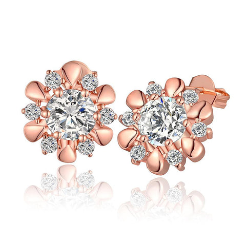 18K Rose Gold Blossom Petal Stud Earrings Made with Swarovksi Elements - rubiquejewelry.com