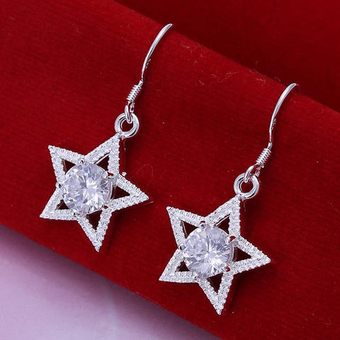Sterling Silver Star Shape with Crystal Inlay Earring - rubiquejewelry.com