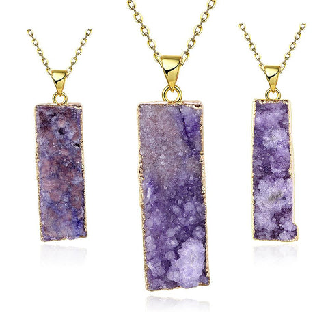Amethyst Horizontal Natural Crystal Necklace - rubiquejewelry.com