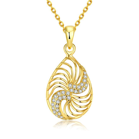 Gold Plated Clockwise Design Necklace - rubiquejewelry.com