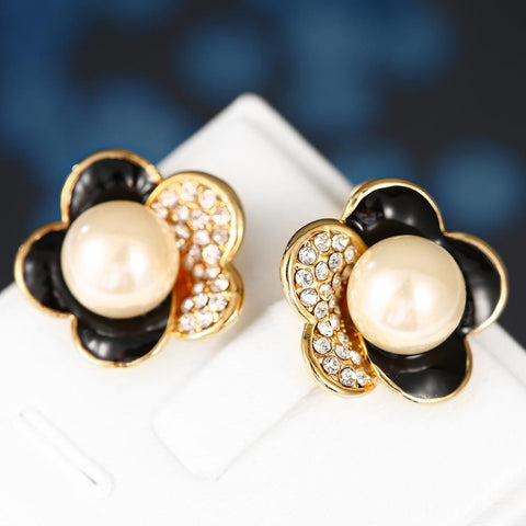 18K Gold Floral Petal Stud Earrings with Onyx Covering Made with Swarovksi Elements - rubiquejewelry.com