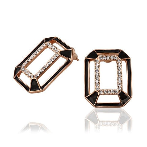 18K Rose Gold Abstract Onyx Covering Studs Made with Swarovksi Elements - rubiquejewelry.com
