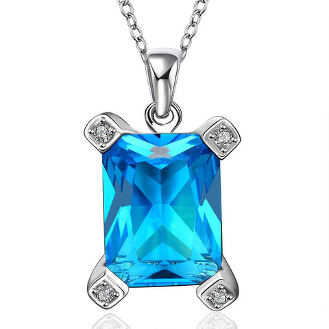 Mock Large Sapphire Gem Drop Necklace made with Swarovski Elements - rubiquejewelry.com