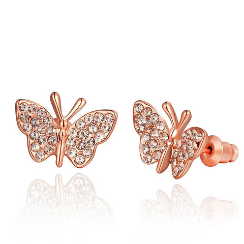 18K Rose Gold Flying Butterfly Stud Earrings Made with Swarovksi Elements - rubiquejewelry.com