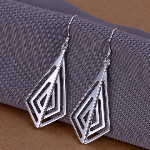 Sterling Silver Laser Cut Triangular Drop Earring - rubiquejewelry.com
