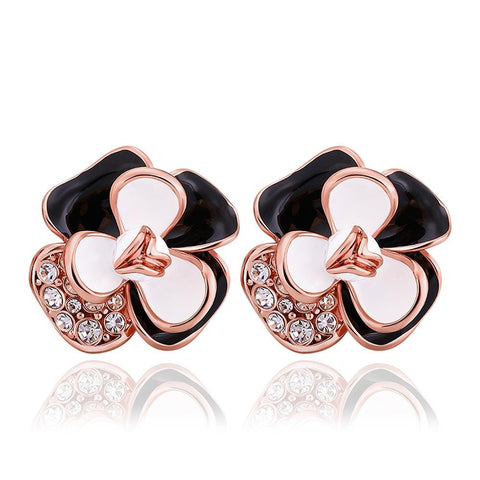 18K Rose Gold Ivory Covered Floral Petal Stud Earrings Made with Swarovksi Elements - rubiquejewelry.com