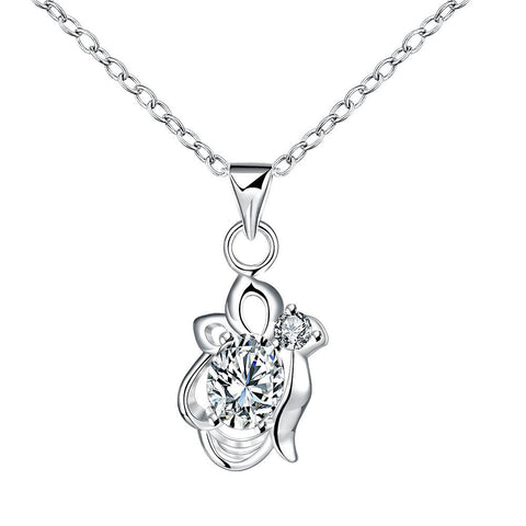Crystal Stone Blossoming Floral Drop Necklace - rubiquejewelry.com