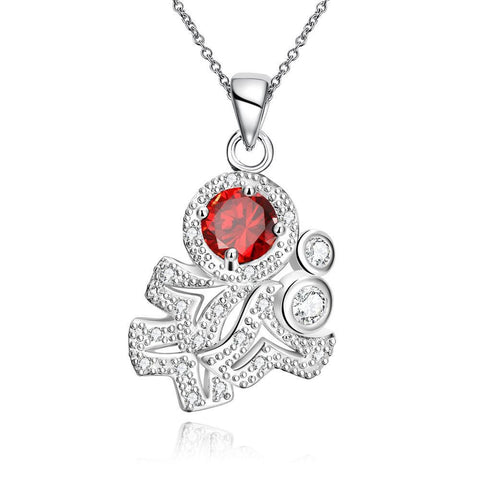 Ruby Red Spiral Classical Emblem Drop Necklace - rubiquejewelry.com