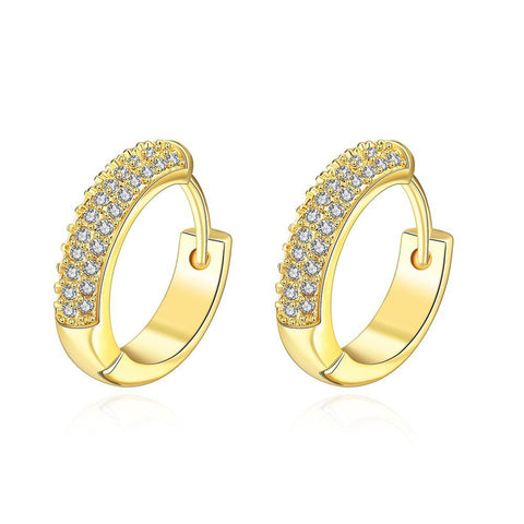 Gold Plated Jewels Covering Mini Hoop Earrings - rubiquejewelry.com