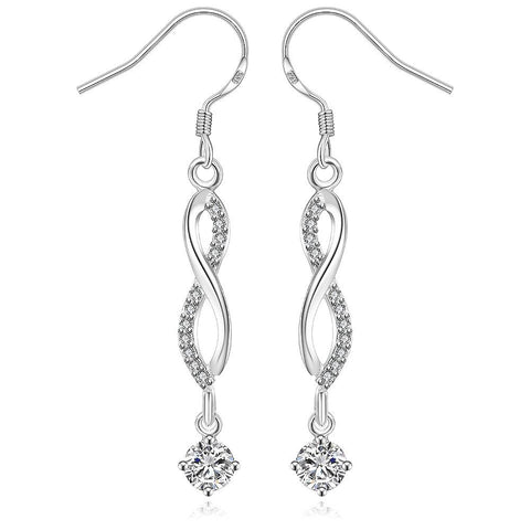 Sterling Silver Thin Line Vertical Crystal Drop Earring - rubiquejewelry.com