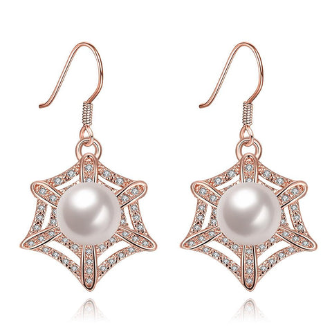 Rose Gold Plated Spider Web Design with Pearl Insert Drop Down Earrings - rubiquejewelry.com