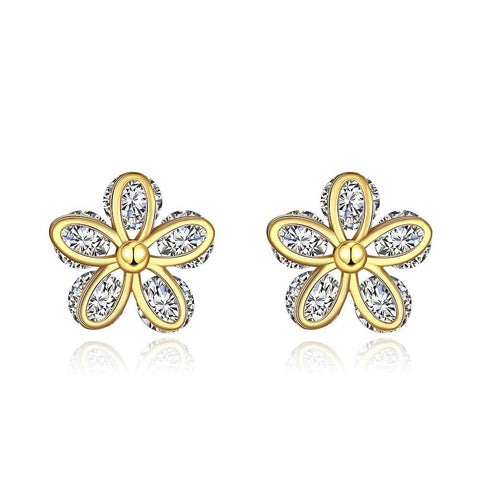 Gold Plated Classic Double Floral Petal Studs - rubiquejewelry.com