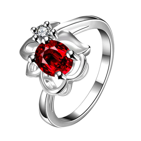 Ruby Red Floral Stud Petite Ring - rubiquejewelry.com