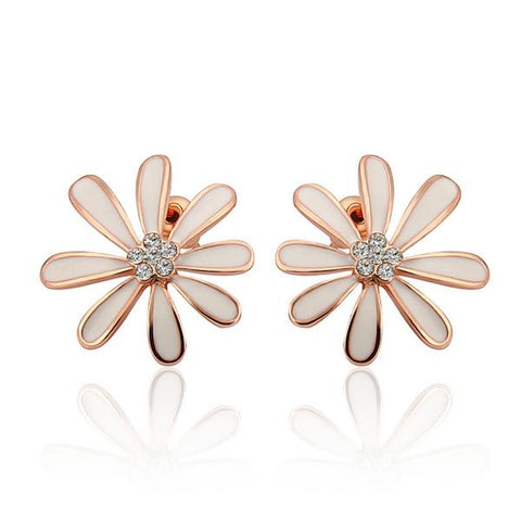 18K Rose Gold Floral Petal Studs with Ivory Covering Made with Swarovksi Elements - rubiquejewelry.com