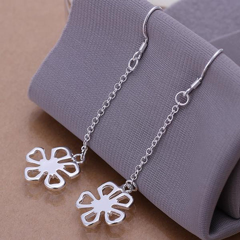 Sterling Silver Hollow Clover Drop Earring - rubiquejewelry.com