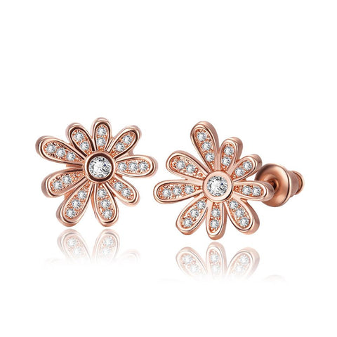 18K Rose Gold Flower Petals Stud Earrings Made with Swarovksi Elements - rubiquejewelry.com