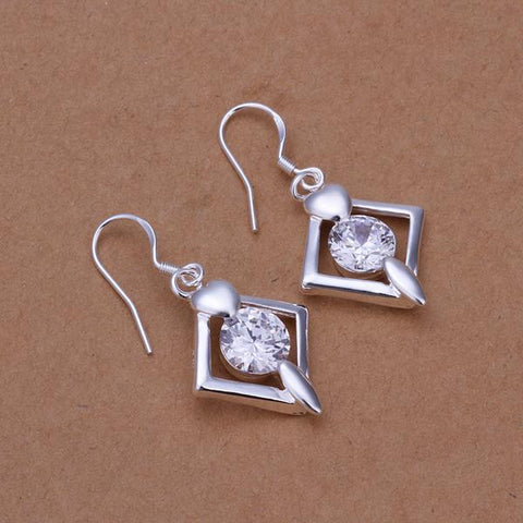 Sterling Silver Diamond Shaped Crystal Earring - rubiquejewelry.com
