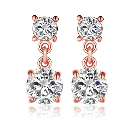 18K Rose Gold Double Swarovski Jewels Drop Down Earrings Made with Swarovksi Elements - rubiquejewelry.com