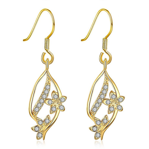 Gold Pave' Covered Natural Inspired Drop Down Earrings - rubiquejewelry.com