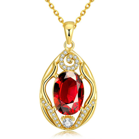Gold Plated Classic London Ruby Necklace - rubiquejewelry.com