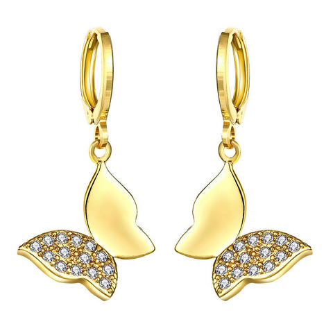 Gold Plated Half Covered Butterfly Drops - rubiquejewelry.com