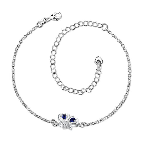 Mock Sapphire Petite Butterfly Petite Anklet - rubiquejewelry.com