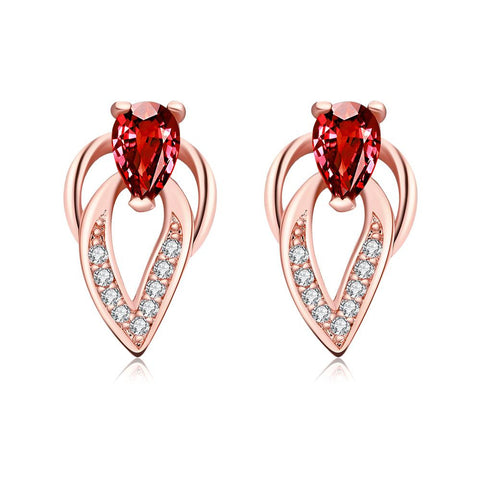 Rose Gold Plated Grape Vine Ruby Gem Earrings - rubiquejewelry.com
