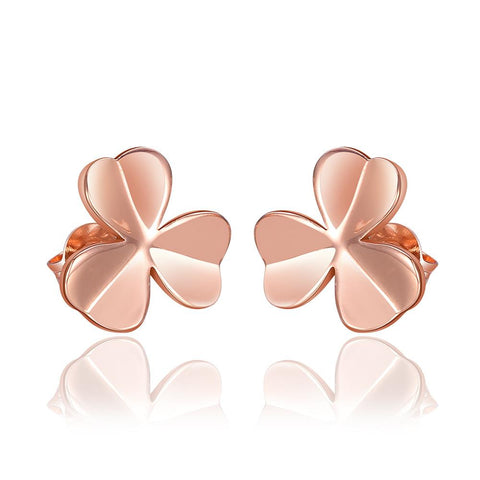 18K Rose Gold Clean Plate Clover Shaped Stud Earrings Made with Swarovksi Elements - rubiquejewelry.com