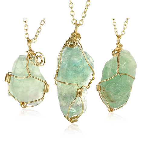 Abstract Emerald GemChlorophane Stone Necklace - rubiquejewelry.com